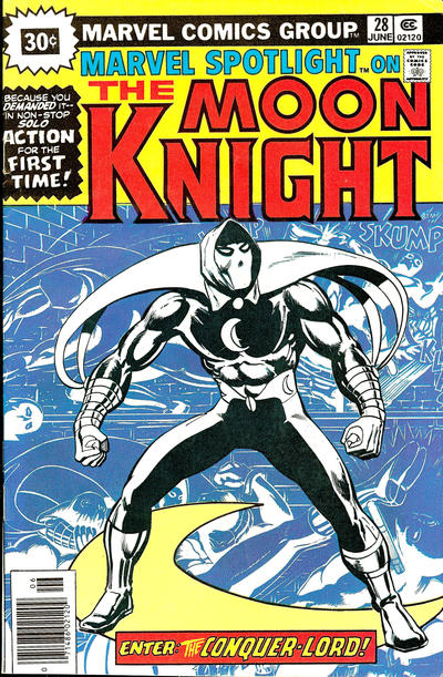 comic cover of Moon Knight posing with a blue background