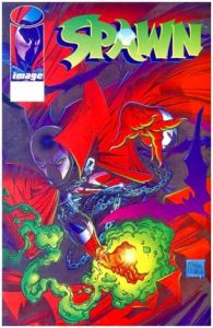 Spawn crouching on the cover with green light surrounding his hand
