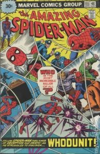 comic cover of a collage of Spider-man seen through a spider web