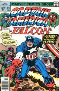 comic cover shows a listing price of 35 cents and shows Captain America fighting the Night Flyer