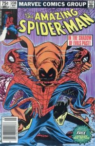 comic cover shows a listing price of 75 cents and shows the Hobgoblin ripping Spider-man's costume in half