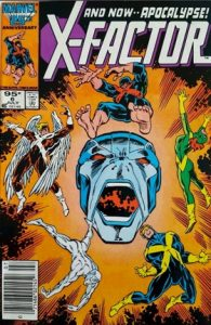 comic cover show a listing price of 95 cents and shows the X-men in pain surrounding a screaming face of Apocalypse