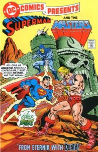 comic cover of superman fighting he-man