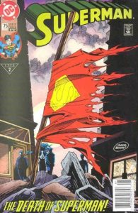 comic cover of Superman's torn cape blowing in the wind