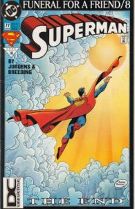comic cover of superman flying into a bright light in the sky