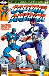 comic cover with a black diagonal line through the barcode and showing the Punisher shooting Captain America