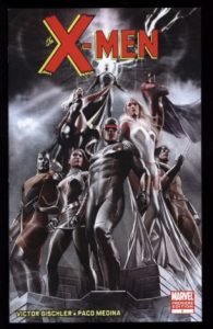 The x-men team posing on a dark cover