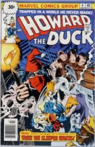 Comic cover of Howard the duck falling off a building