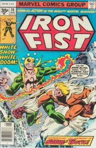 comic cover listing price is 35 cents and shows Iron Fist fighting Sabertooth