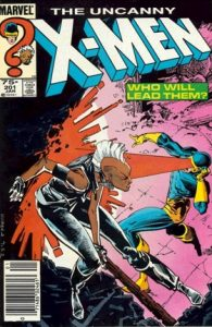 comic cover shows a listing price of 75 cents and shows Storm fighting Cyclops.