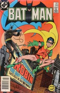 comic cover show a listing price of 95 cents and shows Batman and Robin swinging across rooftops.