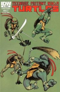 Teenage Mutant Ninja Turtles brandishing their weapons on a green background