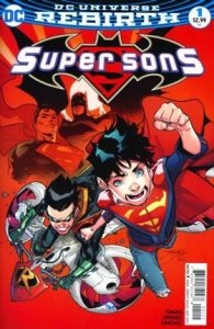 comic cover showing superboy and robin flying on a red background