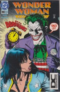 comic cover of the Joker bolding a bomb next to wonder woman