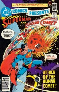 comic cover with a black diagonal line through the barcode and showing superman and captain comet flying through space
