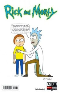 Cover of Rick kneeling next to Morty