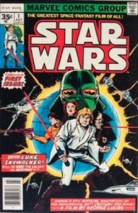 comic cover shows a listing price of 35 cents and has Luke Skywalker posing on the cover