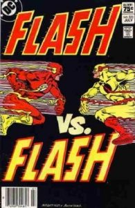 comic cover shows a listing price of 75 cents and shows the Flash versus the Flash