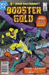 comic cover show a listing price of 95 cents and shows Booster Gold fighting the Blackgaurd.
