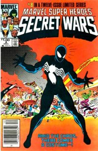 comic cover show a listing price of one dollar and shows Spider-man in his black symbiote suit