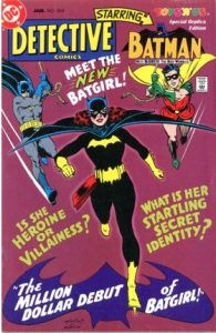 comic cover shows Batgirl in front with batman and robin swinging in from the sides
