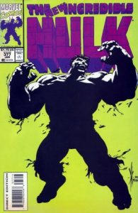 comic cover of a silhouetted Hulk on a green background