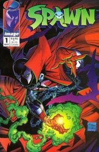 Spawn crouching on the cover with his hand glowing green