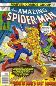 comic cover shows a listing price of 35 cents and shows Spider-man fighting the molten man.
