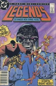 comic cover show a listing price of one dollar and shows a giant Darksied holding a super team in his hands