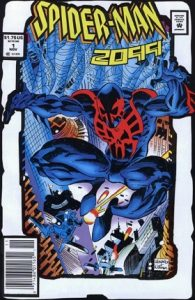 comic cover showing Spider-man 2099 leaping from buildings