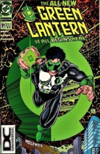 comic cover of the Green Lantern flying through space