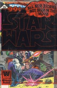 Star wars comic shown in a plastic bag that says Whitman Product on it