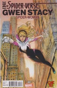 Cover of Spider-Gwen web slinging through the city