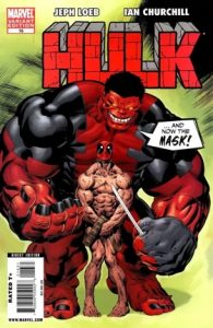 Cover of red Hulk taking Deadpool's costume