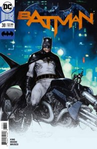 Cover of Batman sitting on the bat cycle