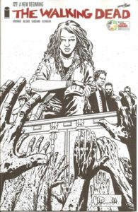 Sketch cover of women looking down at zombies